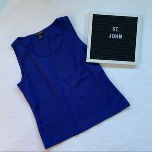 St. John medium bold blue wool blend tank top
